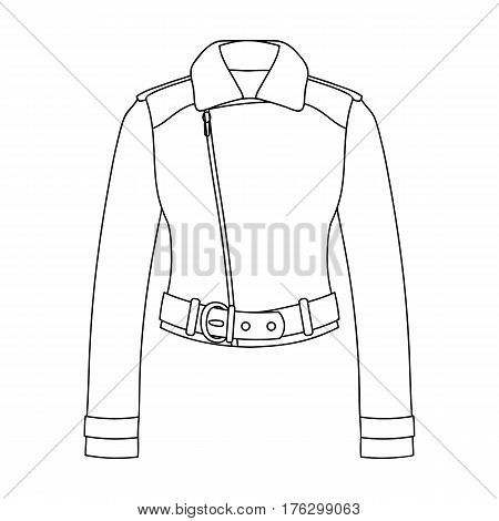 Green youth short leather jackets for confident women.Women clothing single icon in outline style vector symbol stock web illustration.