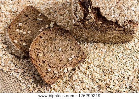 Whole Grain Unleavened Organic Bread with Rye Oats and Flax Seeds. Healthy Chrono Diet.