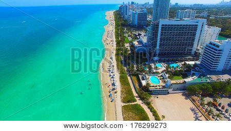 Miami Beach. South Beach. Aerial view. Florida. Atlantic Ocean.