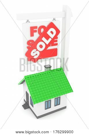 Isolated model of house with sign for sale sold. Concept of real estate, new apartment and moving to a new house. 3D rendering.