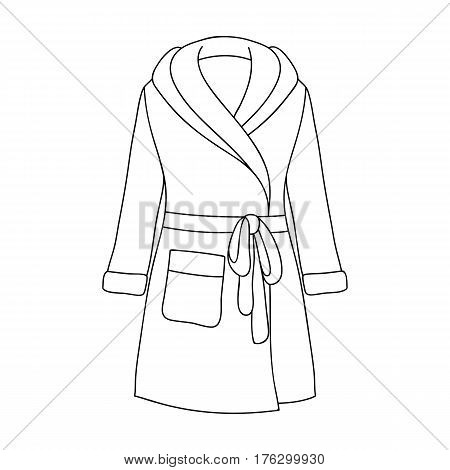 Green lady s gown after bath. Home clothes for women. Woman clothes single icon in outline style vector symbol stock web illustration.
