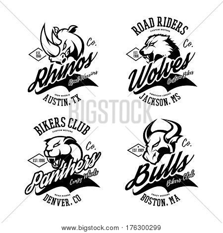 Vintage American furious bull, wolf, panther, rhino bikers club tee print vector design.  Street wear t-shirt emblem. Premium quality wild animal superior logo concept illustration.