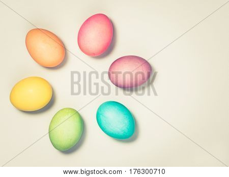 Colorful Easter Eggs background with antique vintage toning effect.