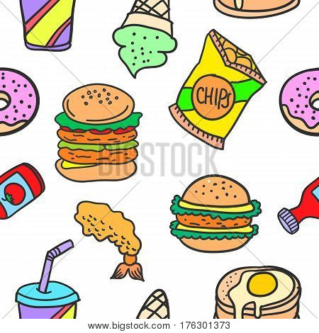 Collection stock of various food doodles vector illustration