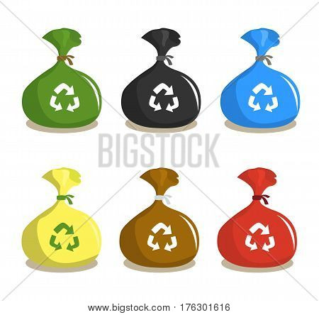 Set of recycle plastic garbage sacks. Garbage bags for waste disposal and recycling. Garbage bag cartoon style.Vector stock.