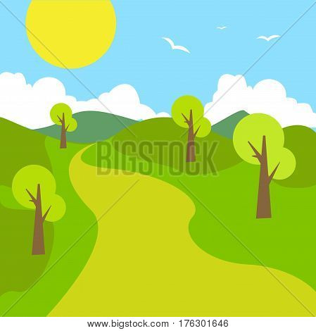 Summer landscape mountain road blue cloud sky with sun green grass and tree woods. Flat landscape design vector stock.