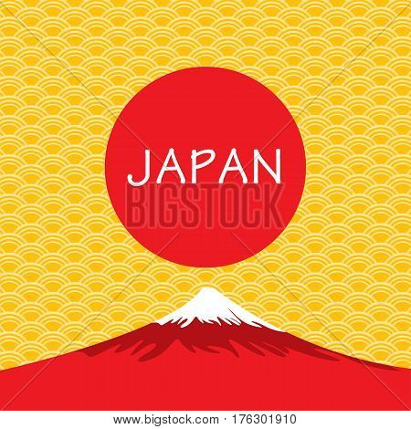 Fuji Volcano of Japan on gold Japanese background.