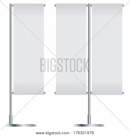 White Outdoor Flag With Stander Advertising Banner Shield isolated on white background.