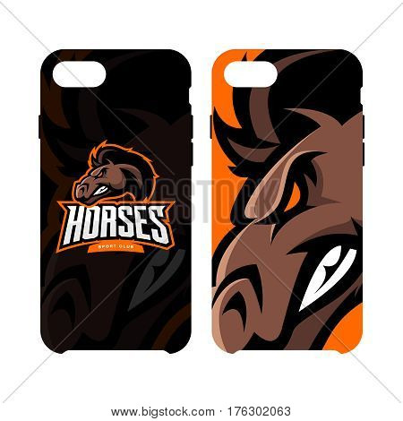 Furious horse sport club vector logo concept smart phone case isolated on white background. Modern professional team badge design. Premium quality wild stallion animal artwork cell phone cover illustration.