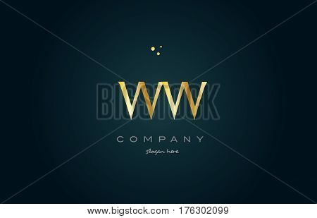 Ww W  Gold Golden Luxury Alphabet Letter Logo Icon Template