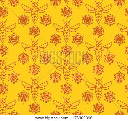 Seamless pattern with orange bees in Monoline style. For the packaging of creams, cosmetics, food, bee venom to treat. Wrap bee products, fashion textile, covers smartphones on honey bee, apitherapy.