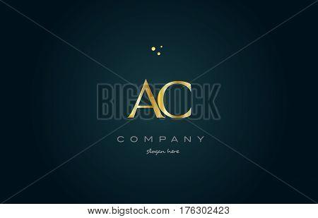 Ac A C  Gold Golden Luxury Alphabet Letter Logo Icon Template