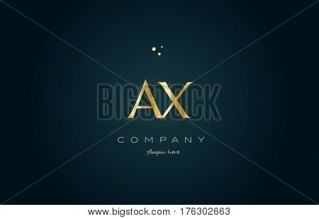 Ax A X  Gold Golden Luxury Alphabet Letter Logo Icon Template