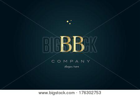 Bb B B  Gold Golden Luxury Alphabet Letter Logo Icon Template