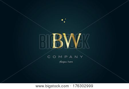 Bw B W  Gold Golden Luxury Alphabet Letter Logo Icon Template