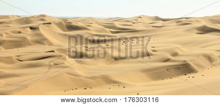 Panoramic view of big sand dunes landscape. Desert or beach sand with ocean in background.