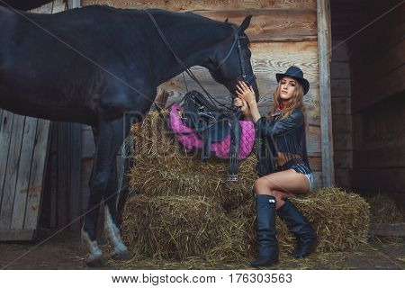 Woman cowboy with a horse on a rural farm.