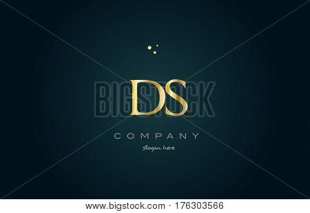 Ds D S  Gold Golden Luxury Alphabet Letter Logo Icon Template