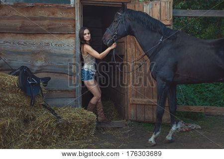 Beautiful woman and horse on a farm in the countryside.