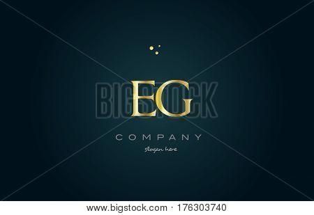Eg E G  Gold Golden Luxury Alphabet Letter Logo Icon Template