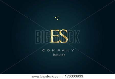 Es E S  Gold Golden Luxury Alphabet Letter Logo Icon Template