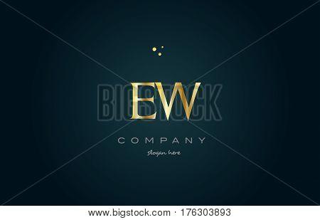 Ew E W  Gold Golden Luxury Alphabet Letter Logo Icon Template