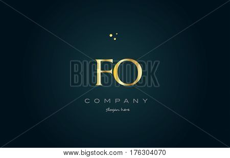 Fo F O  Gold Golden Luxury Alphabet Letter Logo Icon Template