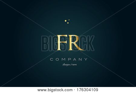 Fr F R  Gold Golden Luxury Alphabet Letter Logo Icon Template