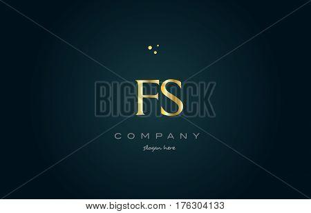Fs F S  Gold Golden Luxury Alphabet Letter Logo Icon Template