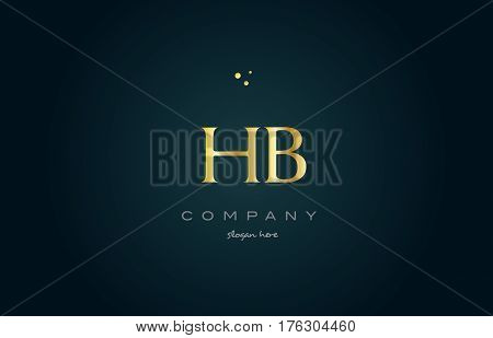 Hb H B  Gold Golden Luxury Alphabet Letter Logo Icon Template