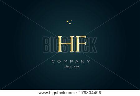Hf H F  Gold Golden Luxury Alphabet Letter Logo Icon Template