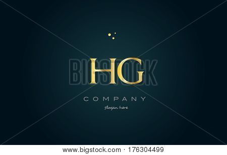Hg H G  Gold Golden Luxury Alphabet Letter Logo Icon Template