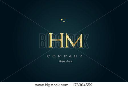 Hm H M  Gold Golden Luxury Alphabet Letter Logo Icon Template