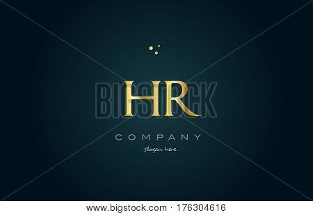 Hr H R  Gold Golden Luxury Alphabet Letter Logo Icon Template