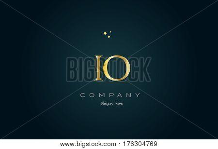 Io I O  Gold Golden Luxury Alphabet Letter Logo Icon Template
