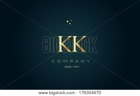 Kk K K  Gold Golden Luxury Alphabet Letter Logo Icon Template
