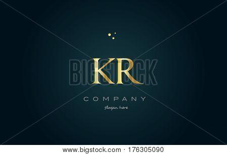 Kr K R  Gold Golden Luxury Alphabet Letter Logo Icon Template