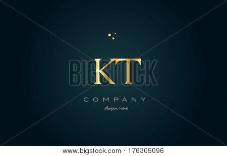 Kt K T  Gold Golden Luxury Alphabet Letter Logo Icon Template