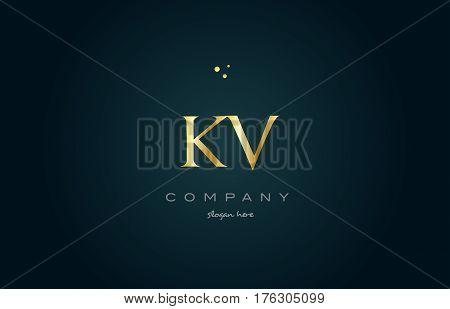 Kv K V  Gold Golden Luxury Alphabet Letter Logo Icon Template