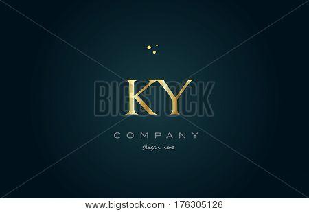 Ky K Y  Gold Golden Luxury Alphabet Letter Logo Icon Template