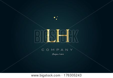 Lh L H  Gold Golden Luxury Alphabet Letter Logo Icon Template