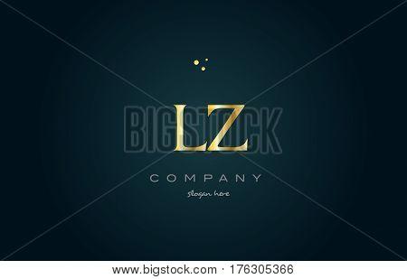 Lz L Z  Gold Golden Luxury Alphabet Letter Logo Icon Template
