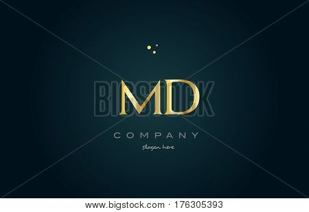 Md M D  Gold Golden Luxury Alphabet Letter Logo Icon Template