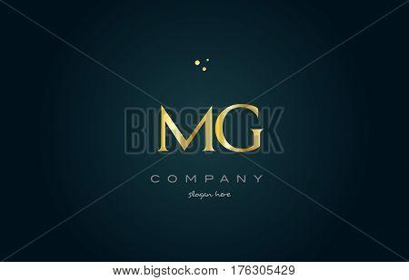 Mg M G  Gold Golden Luxury Alphabet Letter Logo Icon Template