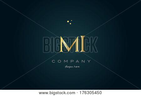 Mi M I  Gold Golden Luxury Alphabet Letter Logo Icon Template