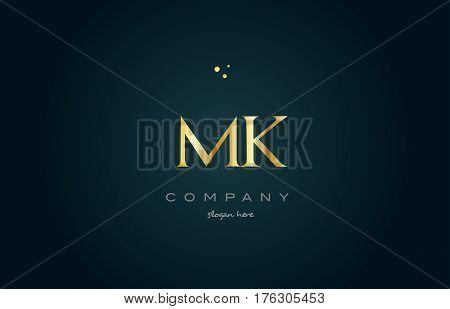 Mk M K  Gold Golden Luxury Alphabet Letter Logo Icon Template