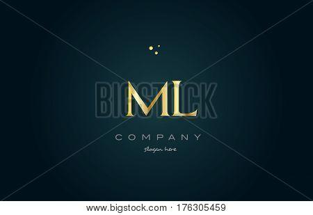 Ml M L  Gold Golden Luxury Alphabet Letter Logo Icon Template