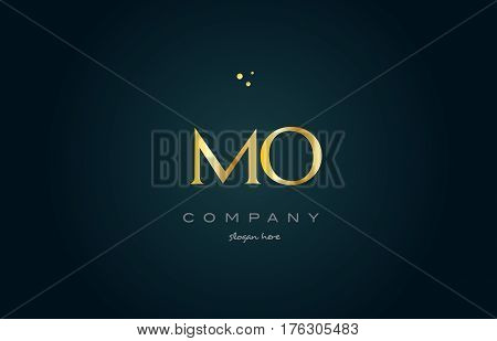 Mo M O  Gold Golden Luxury Alphabet Letter Logo Icon Template