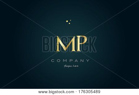 Mp M P  Gold Golden Luxury Alphabet Letter Logo Icon Template