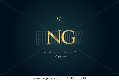 Ng N G  Gold Golden Luxury Alphabet Letter Logo Icon Template